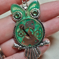 Mint Green Steampunk Owl Pendant Necklace