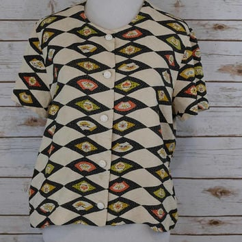 Handmade Vintage Silk fan blouse