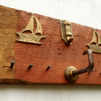 Nautical Key Coat rack, Jewelry holder with Salvaged brass Sailboats