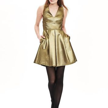 Banana Republic Womens Monogram Gold Fit And Flare Dress