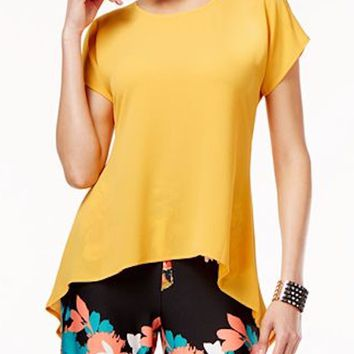 Cable&Gauge Women Split-Slv Stretch Yellow Crossover Asymmetric Blouse Top M