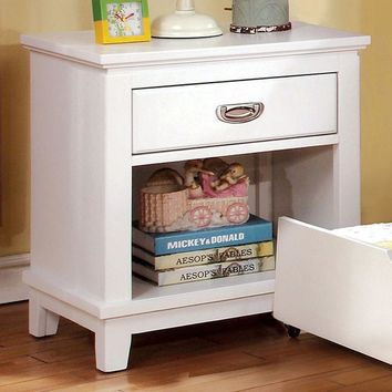 Colin Transitional Style Nightstand, White Finish