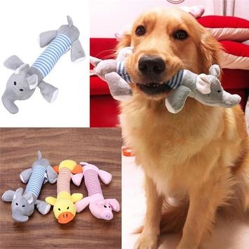 Plush Puppy Squeaker Duck Pig & Elephant Chew Toys