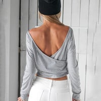 Gray Back Cross Long Sleeve Cropped Top