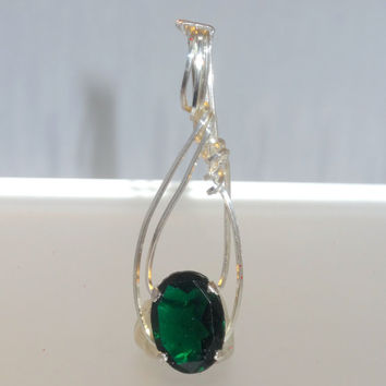 Elegant HandCrafted One of a Kind Sterling Silver Oval Emerald Free Form Wire Wrapped Pendant