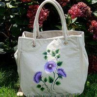 Tote  Shoulder Bag Purse With Purple Flowers