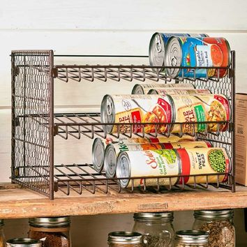 Pantry Can Organizer Holds 30 Cans Farmhouse Style Chicken Wire Roll Down Angle