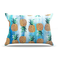 "Nikki Strange ""Pineapple Beach"" Blue Brown Pillow Case"