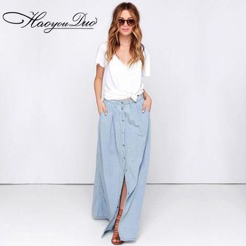 Haoyouduo 2017 Summer All Match Cotton Casual Single Breasted Buttons Long Washed Denim Skirt High Waist Maxi Skirts For Women
