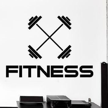 Wall Sticker Sport Barbell Dumbell Fitness Bodybuilding Vinyl Decal Unique Gift (z2972)