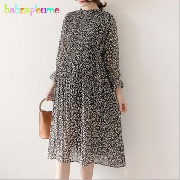 2018 Spring Elegant Pregnancy Dresses For Pregnant Women Clothes Photography Loose Chiffon Plus Size Long Maternity Dress BC1465