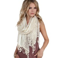 Sale-never Let Me Go Floral Crochet Scarf