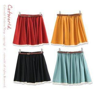 Crayon Color Lace Border Short Skirt With Belt Orange Red-Wholesale Women Fashion From Icanfashion.com