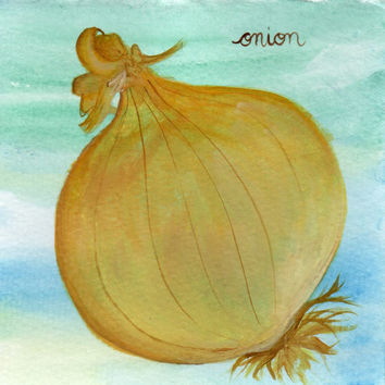 Onion Watercolor and Acrylic Painting, Home Decor, KItchen Art, Food Painting