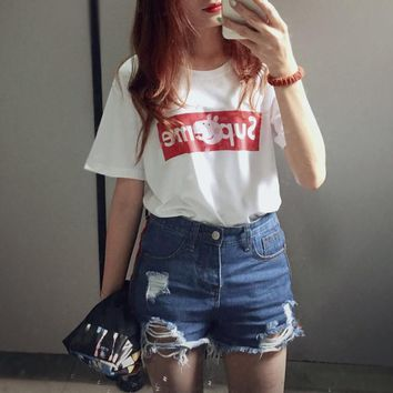 """Supreme x Peppa Pig"" Women Fashion Casual Cute Cartoon Letter Print Short Sleeve T-shirt Top Tee"