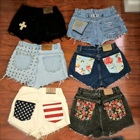 One of a kind custom made high waisted shorts