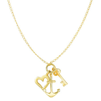 14K Yellow Gold Key Anchor And Heart Charms On 18 Inch Necklace