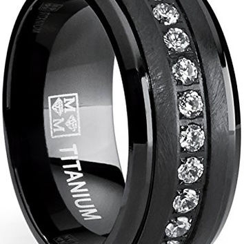 Black Titanium Men's Eternity Wedding Band Ring with Clear Round Cubic Zirconia 9mm | FREE ENGRAVING