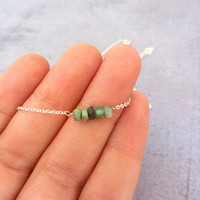 Simple tiny sterling silver choker necklace, emerald green may birthstone necklace.