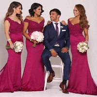 Sexy V Neck Long Burgundy Lace Bridesmaid Dresses Plus Size Cheap 2017 Cap Sleeve Wedding Party Dress vestido de festa de casame