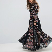 Frock And Frill Petite Embroidered Maxi Dress With Lace Inserts at asos.com
