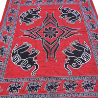 Red Hippie Hippy Wall Hanging Indian Elephant Tapestry Throw Bedspread Queen Bed Decor Sheet Ethnic Decorative Art