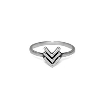 Silver Triple V Chevron Ring, Thin Solid 925 Sterling Silver Simple Rings, Gifts for Her, Trendy Minimalist Jewelry