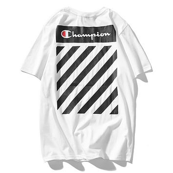 Off White & Champion Fashion New Summer Letter Stripe Print Couple Sports Leisure T-Shirt Top White
