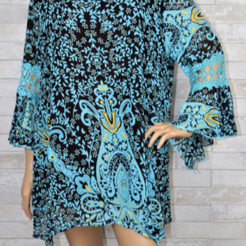 Carla Lady Noiz Boho Plus Tunic top-Aqua & Brown