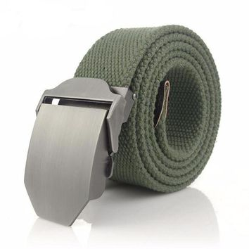Canvas Belt with Brushed Buckle