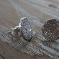 Post Earrings, Hammered Silver Earrings, Hammered Silver Stud Earrings