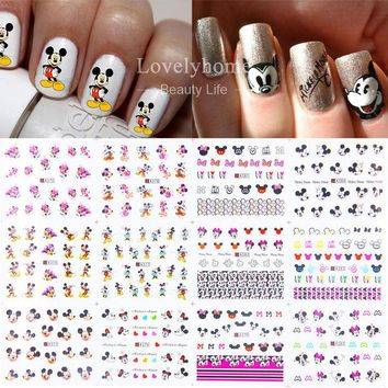 DCK9M2 12 Sheets 12 styles A373-384 Nail Art Water Transfer Sticker Decals Cute Mickey Mouse Cartoon Stickers Wraps Tips Decoration