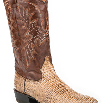 Roper Mens Faux Exotic On Leather R Toe Boots Teju Lizard