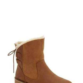 CREY1O UGG? Naiyah Genuine Shearling Lace Back Bootie (Women) | Nordstrom