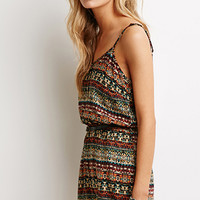 Abstract Medallion Belted Romper