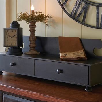 Farmhouse Distressed Black Wood Counter Shelf Vintage inspired by Park Designs