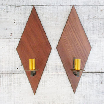 Wall Sconces Mid Century Modern Candle Sconces Wall Mount Mid Century Candlestick Holders Retro Wood Candleholder Mid Century Wall Decor