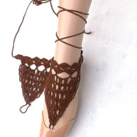 crocheted barefoot sandals brown barefoot sandles crochet lace summer shoes belly dance anklet foot jewelry steampunk boho jewelry hippie