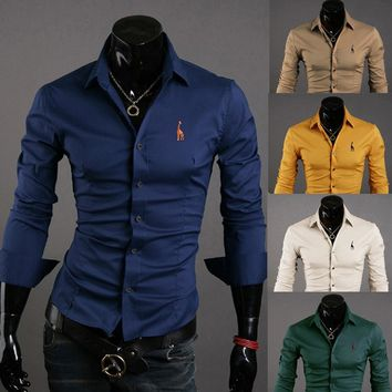 Mens Casual Button Down Shirts Embroidered Logo