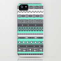 Grey Mint Tiffany Aztec Pattern iPhone iPhone & iPod Case by RexLambo