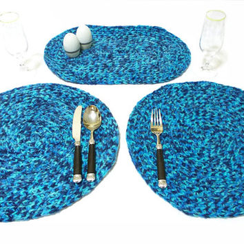 Crochet placemat, table mat, place mat, plate holder. Blue placemat, Set of two placemat, Blue service set, Kitchen Gifts, Gift for mom