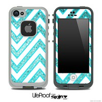 Large Chevron and Blue Tiled V2 Skin for the iPhone 5 or 4/4s LifeProof Case