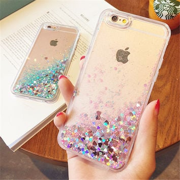 Love Heart Glitter Dynamic Liquid Quicksand Cases for iPhone 6 Cases 5 5s SE 6s Plus for iPhone 7 Case 7 Plus Soft Silicon p35