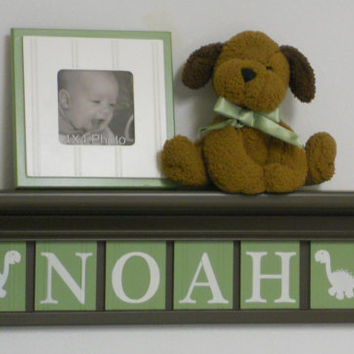 "Dinosaur Nursery Decor Custom Letters for NOAH with Dino's 24"" Brown Shelf / Sign 6 Letters Light Green Personalized Baby Boy Nursery Decor"