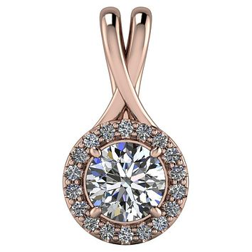 Round Moissanite 4 Prong Diamond Halo Pendant