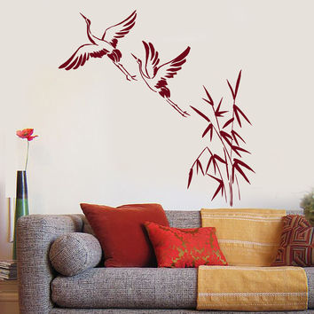 Vinyl Wall Decal Cranes Bamboo Asian Birds Japanese Art Stickers Unique Gift (ig4753)