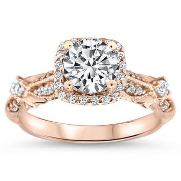 Antique Style Moissanite Engagement Ring Diamond Setting - Tressa 2ct