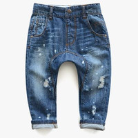 new spring autumn baby clothing brand baby pants hole wash child jeans baby boys harem pants kids Casual denim pants