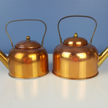 Vintage Copper Tea Pots Tea Kettle Small Set of 2 Brass Handle Copper Plate Teapot Aluminum Lightweight Farmhouse Decor Rustic Decor Kitchen