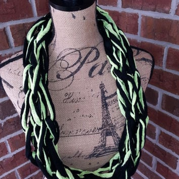 Kids neon yellow and black  Arm knitted scarf,neon yellow and black cowl, knit cowl, Bulky arm knit scarf, kids fashion scarf, girls scarf